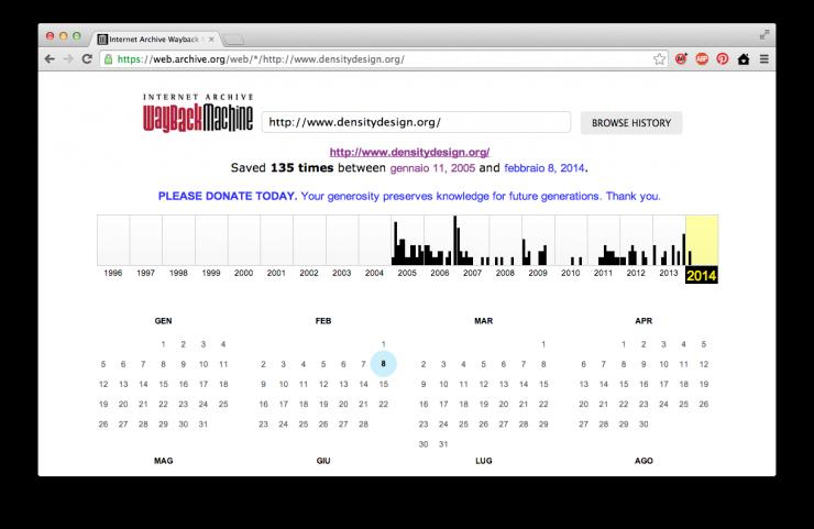 Wayback Machine homepage