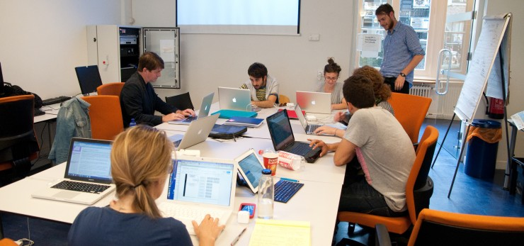 "DensityDesign students during the 2012 summer school: ""Reality mining, and the limits of digital methods"". Photo by Anne Helmond"